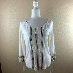 American Eagle Size S Boho Top Embroidery Blouse